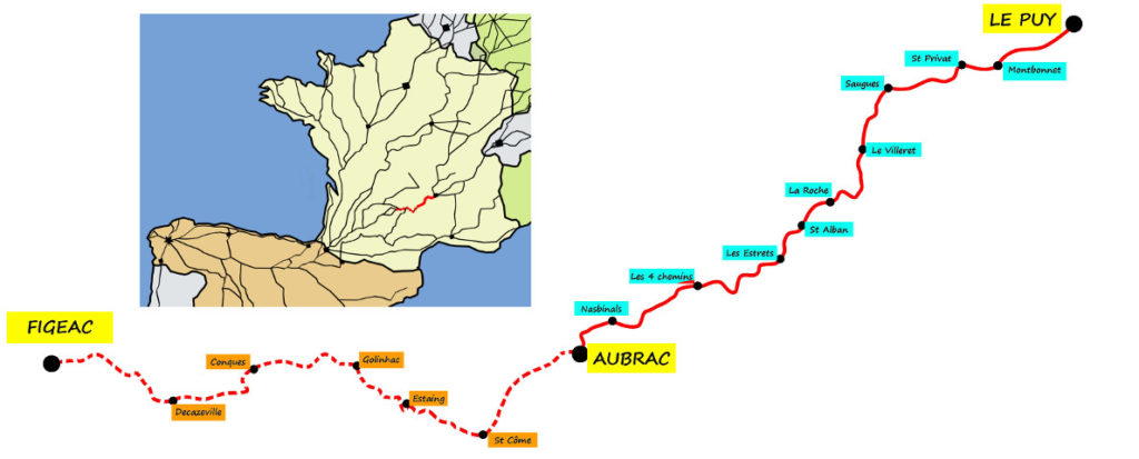 2016 - Itineraire prevu voie du puy