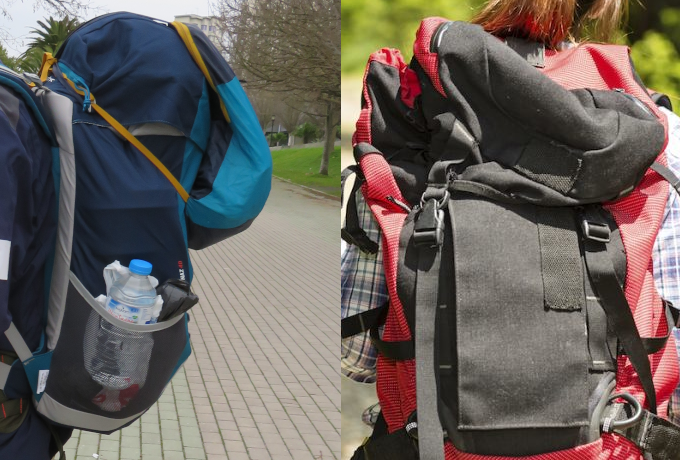Camino bad advice, backpack size volume, too small too big, Photos: left Marion, Santiago in Love, CC BY-NC-SA and right Istockphoto.com