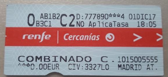 Combinado Cercanias ticket